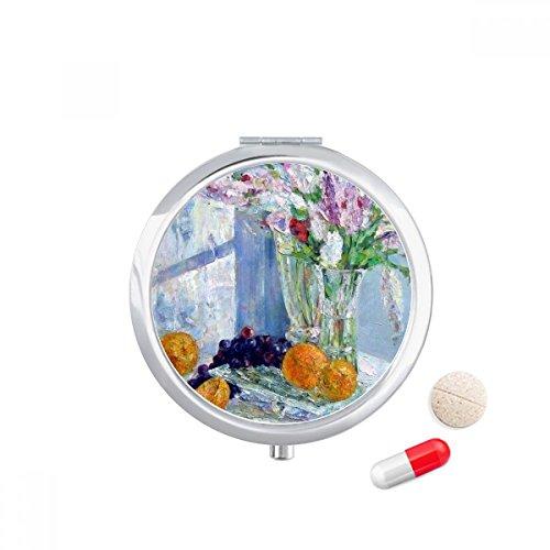 DIYthinker Stilleven Schilderen Vaas Bloem Druif Reizen Pocket Pil geval Medicine Drug Opbergdoos Dispenser Spiegel Gift