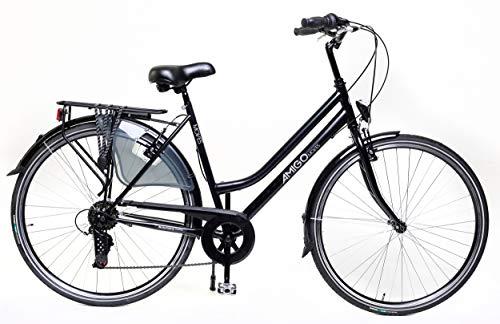 Amigo Moves - Bici da città per donna 28 pollici - Adatto da 170-175 cm - Cambio Shimano a 6 velocità - Citybike con freno a mano, Campanello, Cavalletti e Luci - Nero