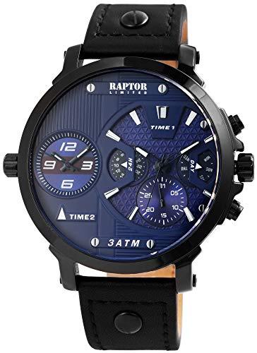 Raptor Limited Herren-Uhr Echt Leder Multifunktion Analog Quarz RA20248