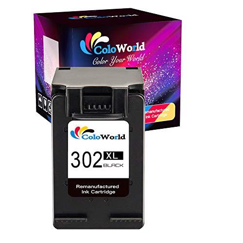 ColoWorld 302XL Cartuchos de Tinta para Impresora HP 302 Compatible con impresoras Officejet 5230, 5220, 3831, 3833, 3830, 3832, 5252, 5255 Deskjet 1110,2130,3639,3630,3636 Envy 4525 4520 Negro