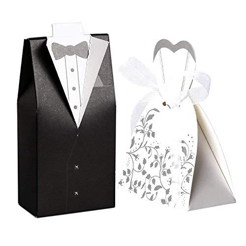 Txyk Wolfteeth 100 pz scatoline portaconfetti bomboniere matrimonio Carta Scatole per Confetti-50 pezzi Sposa(con nastrino) & 50 pezzi Sposo