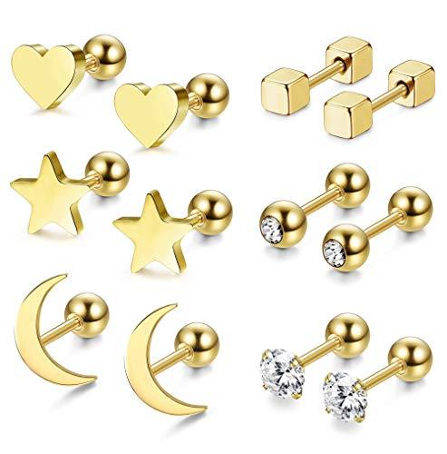 LQXZJ 3-6 pares Pendientes de acero quirúrgico for muchachas de las mujeres del corazón de la estrella Luna Pendientes de cartílago Helix (Color : C:gold 6pairs)