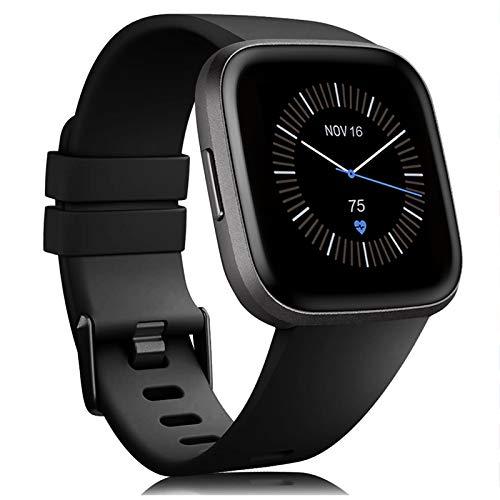Onedream Pulsera Compatible con Fitbit Versa Correa/Versa Lite Correa Silicona Mujer Hombre, Ajustable Deportivo Pulsera de Reemplazo para Fitbit Versa Special Edition(Sin Reloj) (Negro, L)