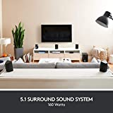 Logitech Z607 Wireless Bluetooth 5.1 Speaker System, EU PLUG, Surround Sound, 160 Watts Peak Power, Booming Bass, 3.5mm Audio & RCA Inputs, USB, SD-Card, PC/TV/Smartphone/Tablet/Music Player, Black