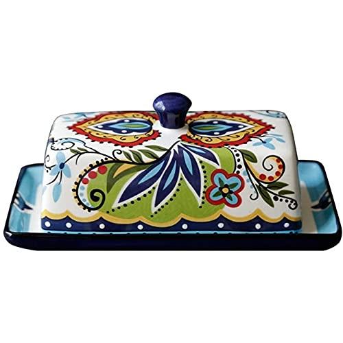 Vpsppb Caja de Mantequilla de cerámica Creativa Cubiertos continentales con un Plato de Mantequilla Placa de Postre Crema Caja de Corte de Aceite Contenedor de Mantequilla