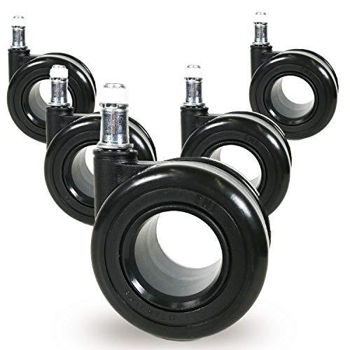 Teppichbodenrollen 10mm oder 11mm Ring 'Black Edition' -Bürostuhl Rollen, 5er Set, Ø 65mm Designer Stuhlrollen, Extrem Leise Rollend, TÜV&GS Geprüft, Stiftdurchmesser:Ø 11x22 mm Stift