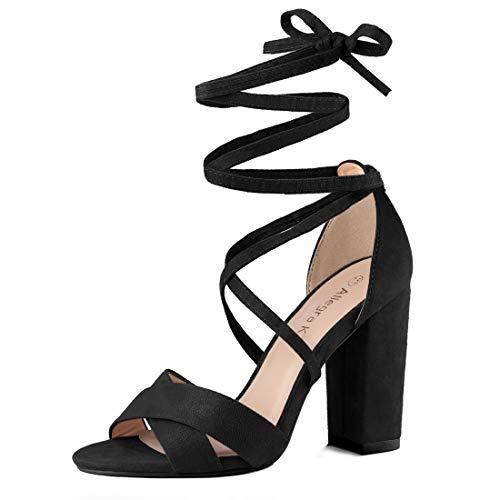 Allegra K Women's Heeled Lace up Black Sandals - 9 M US