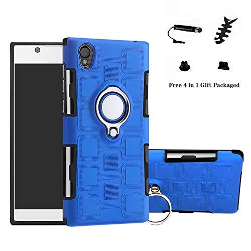 LFDZ Sony Xperia L1 Anillo Soporte Funda 360 Grados Giratorio Ring Grip con Gel TPU Case Carcasa Fundas para Sony Xperia L1 / E6 Smartphone(con 4 en 1 Regalo empaquetado),Azul