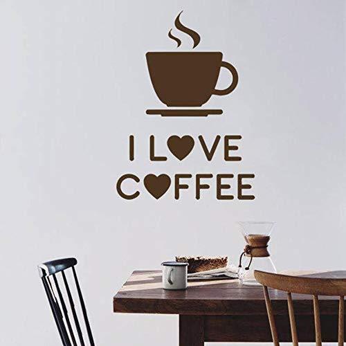 Tianpengyuanshuai Ich Liebe Aufkleber Kaffee Aroma Pause Zeichen Cafe Restaurant Wandbild Vinyl Wandtattoo 36X37cm