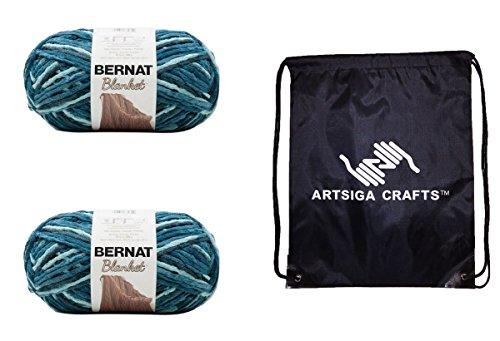 Bernat Knitting Yarn Blanket Big Ball Teal Dreams 2-Skein Factory Pack (Same Dyelot) 161110-10736 Bundle with 1 Artsiga Crafts Project Bag
