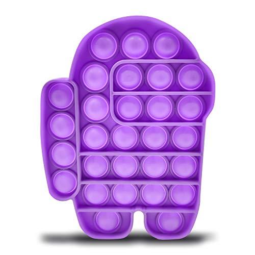 HALOFMEE Soft Silicone Push Bubble Pop Bubble Fidget Sensory Toy Amons Poppet Fidget Toy Pop Fidget Bubble Popping Game (Purple)
