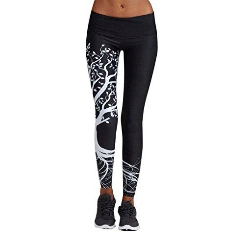 Mujer Pantalones Largos deportivos SMARTLADY Patrón de árbol Leggings para Running, Yoga y Ejercicio (XL, Negro)