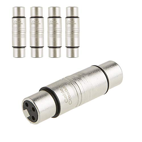 XLR Female to Female, CableCreation [5-Pack] XLR 3 Pin Female to 3 Pin Female Microphone Line Adapter