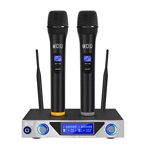 TONOR Microfono Wireless Set Radiomicrofono VHF Sistema con Microfono Dinamici Senza Fili con Display LED per Karaoke
