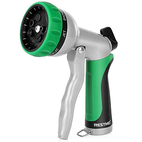 RESTMO Garden Hose Nozzle, Heavy Duty Metal Water Hose Nozzle with 7 Adjustable Spray Patterns, High Pressure Hand Sprayer with Flow Control, Best for Watering Plants & Lawns, Washing Cars & Pets