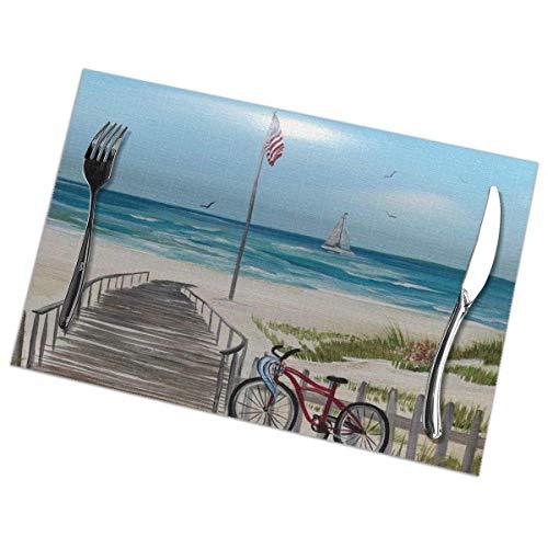 ZDMAHCC strandstoelen op brievenbus, strandfiets placemats set van 6 brandwerende antislip placemat wasbare tafelmatten 12x18 inch