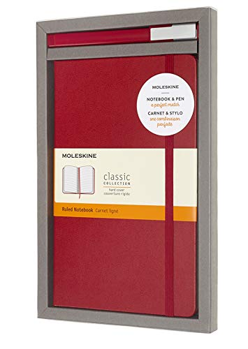 Moleskine Set con Taccuino e Penna Roller Gel Plus, Cofanetto con Penna Rosso Scarlatto + Notebook a Righe, Copertina Rigida, Colore Rosso Scarlatto, Formato Large 13 x 21 cm, 240 Pagine
