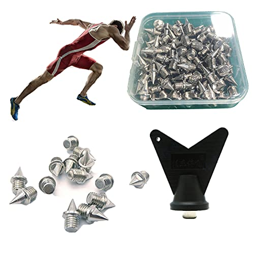 110 Pcs 1/4 inch Track Spikes Replacement for Track Shoes Hard Steel Pyramid Spikes for Running Hiking High Jumping Cross Country with Storage Box and Wrench