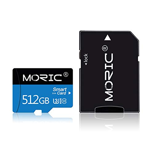 512GB Micro SD Card with Adapter SD Memory Cards for Camera (Class 10 High Speed), Memory Card for Phone Computer Game Console, Dash Cam, Camcorder, GPS, Surveillance, Drone(512GB)