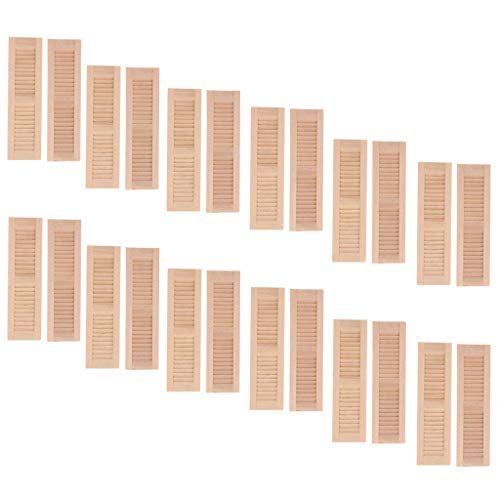 Castello 12 Pairs Handmade 1/12 Dollhouse Furniture Wooden Shutters Blind Window DIY