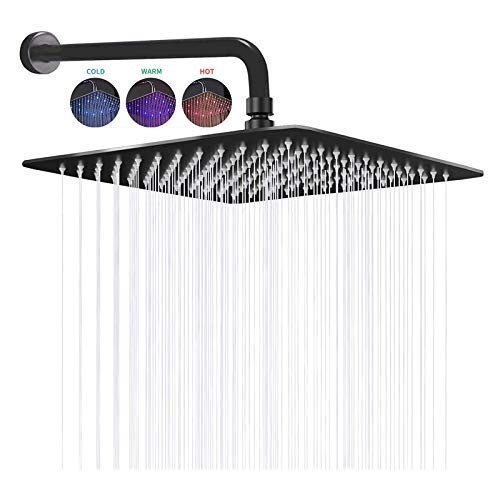 12 Inch LED Shower Head With Shower Arm,Hydroelectric Power Square Shower Head Made of 304 Stainless Steel,Temperature Sensor 3 Colors Changing,Black