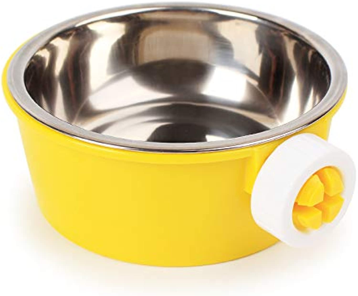 Pet Online Hanging Warm pet Bowl Stainless Steel Dog and cat cage Thick Fixed Food, 38×28×58.5CM, Yellow
