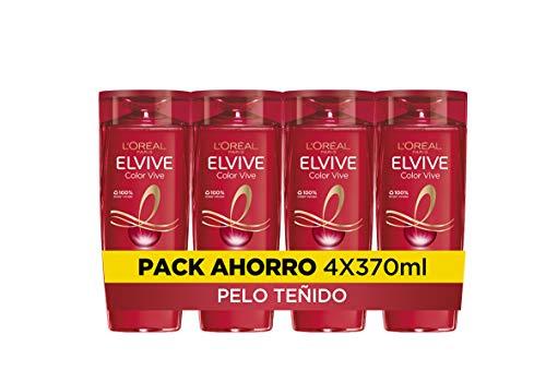 L Oreal Paris Elvive Color Vive Champú Protector, Para Pelos Teñidos o con Mechas, Pack de 4 Unidades x 370 ml, Total: 1480 ml