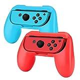 TNP Agarre para mando Joy-Con Nintendo Switch (Paquete de 2), Empuñadura cómoda y resistente al desgaste para controlador Joy-Con, Kit de accesorios para Nintendo Switch (Rojo y Azul)