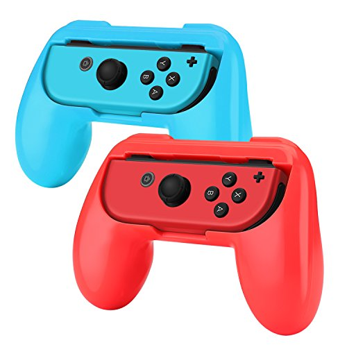 TNP Nintendo Switch Joy-Con Grip (2 Pack) - Comfortable Grip Wear Resistant Joy-Con Handle Game Controller Kit Accessory for Nintendo Switch (Red+Blue) - Nintendo Switch