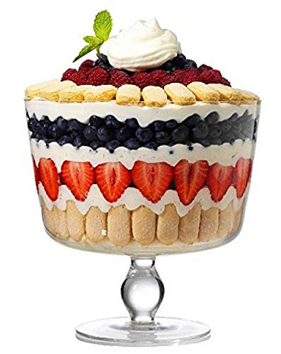 SOLAVIA Clear Glass Footed Trifle Dessert Bowl LOLA 22.5 x 22 cm, 2.5 litres Trifle Dessert Deep Dish