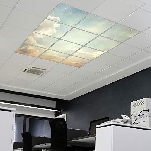 banjado LED Lichtdecke mit Acrylbild | Lichtdeckenplatte Acryl 62x62cm Himmel Vintage | Panel für Deckenleuchte Rasterdecke | Bürolampe, Praxisleuchte, Rezeption oder Wartezimmer