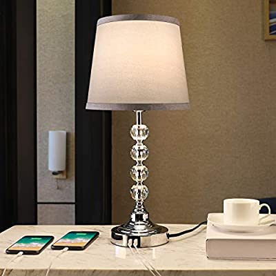 USB Table Lamp, Crystal Table Lamp Touch Contro...