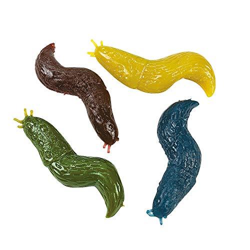 Fun Express Sticky Stretch Slug Toys (Set of 12) Gross Rubber Worm Novelty Toys