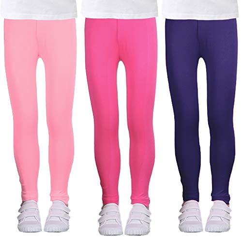 LUOUSE Girls Stretch Solid Comfortable Leggings Little Kids Sweat Athletic Yoga Pants 3 Packs Sets Ankle Length Size 8T - 9T