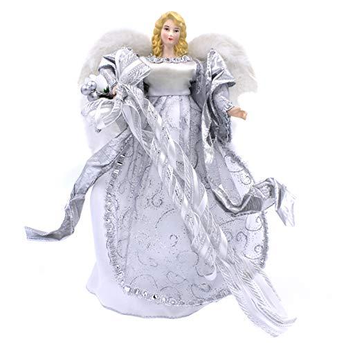 The Christmas Workshop 83960-30 cm, Figura de ángel Copa del árbol de Navidad, Plateado