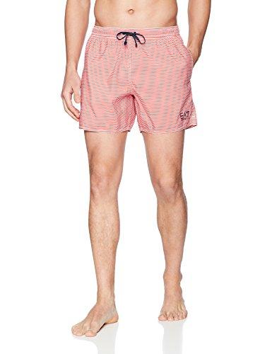 Emporio Armani Herren Sea World Beachwear Stripes Boxers Boardshorts, weiß/rot, X-Large
