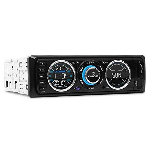 auna MD-180-BT - Autoradio, Car-Radio, USB/SD-Port, Radio Tuner FM, MP3, Entrée AUX, 2 x Sorties Line, Mains Libres, Blanc