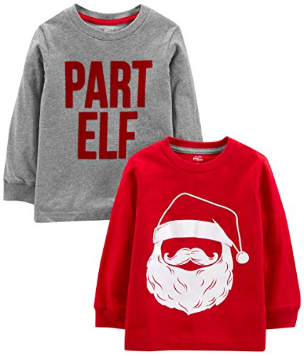 Simple Joys by Carter's Boys' Toddler 2-Pack Christmas Long-Sleeve Tees, Santa/Part Elf, 3T