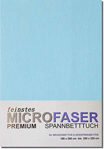 MICROFASER Laken Spannbetttuch Wasserbett Boxspring 180 x 200 cm bis 200 x 220 cm Laken Tuch (HELLBLAU)