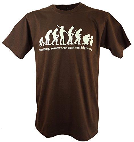 Guru-Shop, Camiseta de la Diversión `Evolution`, Marrón, Algodón, Tamaño:M, Camisetas Impresas
