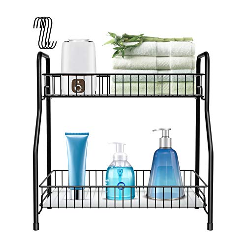 Spice Rack Organizer for Countertop 2 Tier Bathroom Counter Shelf Standing Holder Storage with 4 Hooks for Kitchen Cabinet-Black