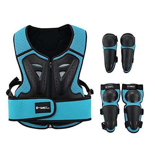 Armadura de moto para niños, traje protector de espalda para el pecho, motocicleta y niños, protección completa para motocicleta, ciclismo, carreras de armadura (azul)