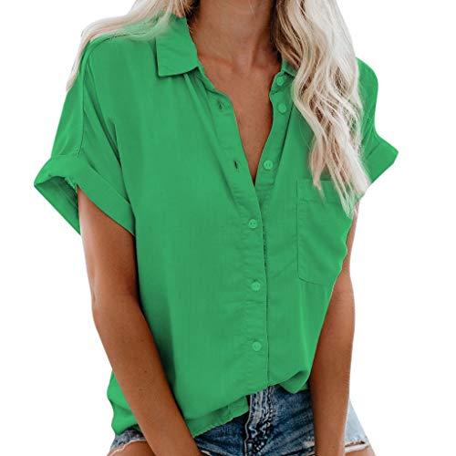 KIMODO Bluse Tops Damen Kurzarm Hemdbluse T-Shirt Casual Einfarbig Business Hemd Tasche und Sommer Revers Shirt S-3XL (Grün, 3XL)