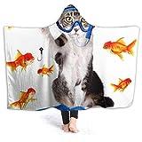 Manta de forro polar con capucha Inaayi para gato, pesca, curiosidad, pez dorado, caza, divertida, supersuave, manta para cama, sofá, liviana, para viajes, camping, para niños y adultos, negro, 60'x50'