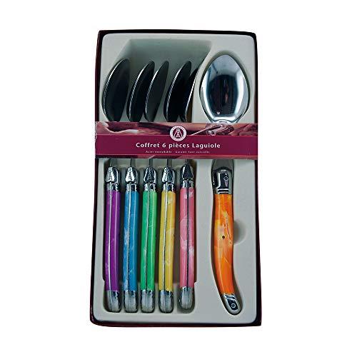 Laguiole Production - Set 6 Posate Multicolori - Posate in Acciaio Inossidabile - Confezione Regalo di Presentazione