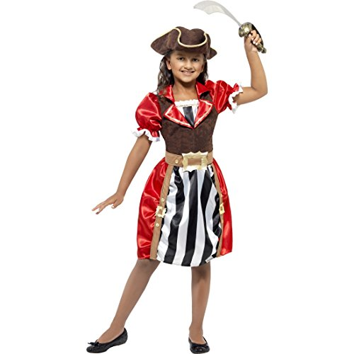 NET TOYS Kinder Piratenkostüm Edel Piratin Kostüm S 4-6 Jahre 110-128 cm Piratinkostüm Kleid Piratenkleid Seeräuberkostüm Piraten Kinderkostüm Piratenbraut Faschingskostüm Mädchen Kostüme Fasching