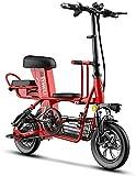 DKBE Bicicleta eléctrica, Coche de batería pequeño y Ligero portátil asistido por energía, Mini Coche eléctrico Plegable para Padres e Hijos