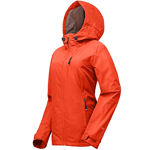 33,000ft Regenjacke Damen Wasserdicht Outdoorjacke Atmungsaktiv Herbst Übergangsjacke Leichte Jacke mit Kapuze Windbreaker zum Wandern Reisen Treking Fahrrad Orange 38