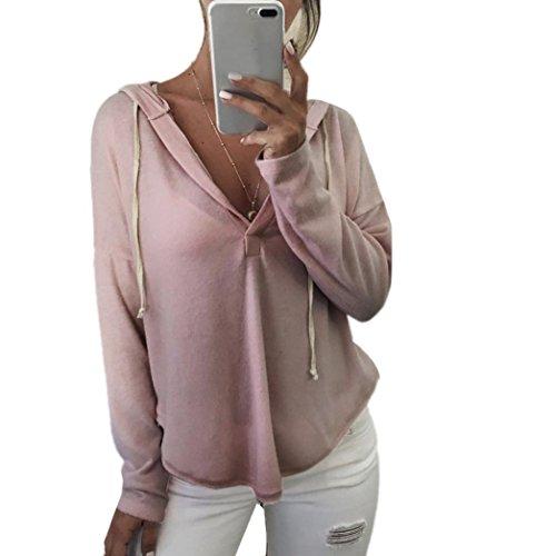 Kolylong® Sweatshirt Damen Frau V-Ausschnitt locker Bluse mit Kapuze Herbst Lange Ärmel Hemd T-Shirt Tops Pullover (XL, Rosa)