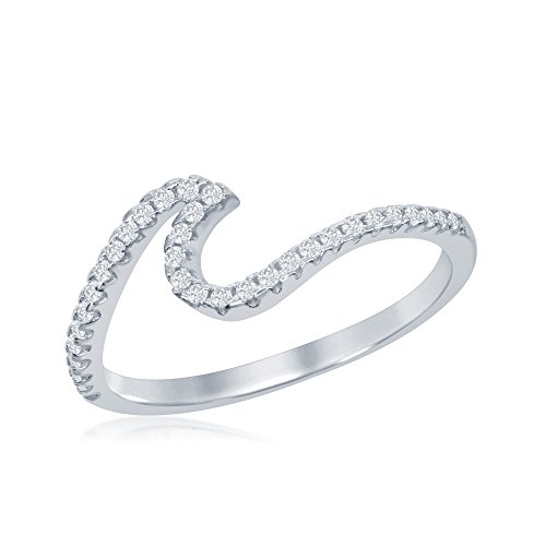 Sterling Silver Cubic Zirconia Wave Design Ring (Size 6)